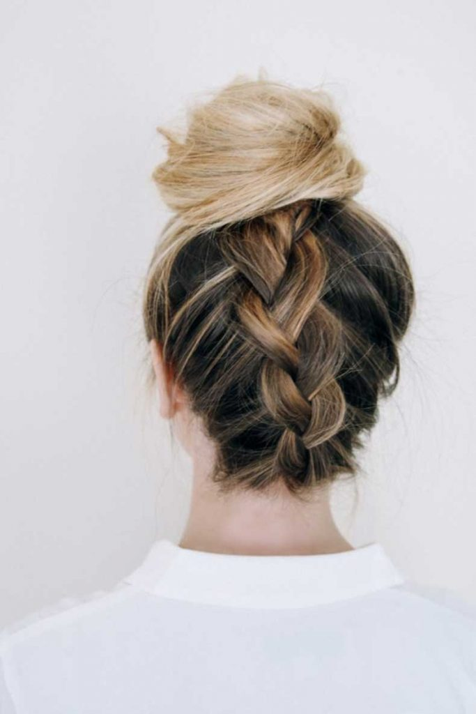 Top knot trenza peinado fiesta
